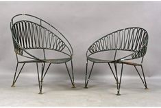 A similar pair of Salterini wrought iron ribbon design garden club chairs, each with arched backs and perforated seat. on Apr 2010 Salterini, Patio Seating, Ribbon Design, Garden Club, Garden Chairs, Club Chairs, Bauhaus, Wrought Iron, Garden Design