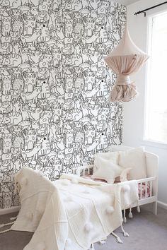 Doodle Cats Removable Wallpaper | COLORAYdecor.com