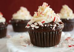 Peppermint Chocolate Cupcakes with chocolate ganache and peppermint cream cheese frosting.  Easy and delicious!