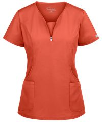 Look fitted and fashionable at work with the UA Butter-Soft STRETCH Curved Neck Zipper Scrub Top. Buy fabulous fashion scrubs at Uniform Advantage today! Scrubs Outfit, Scrubs Uniform, Scrub Suit Design, Scrubs Pattern, Cute Scrubs, Medical Uniforms, Medical Scrubs, Nursing Clothes, Scrub Tops