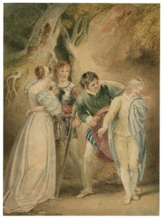 Thomas Stothard. The revelation of Sebastian as Julia, Two Gentlemen of Verona, Act 5, Sc. 4. Watercolor, late 18th century. Folger Shakespeare Library.