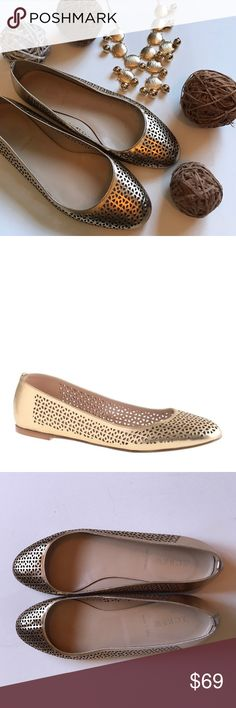 Nora perforated ballet flats Excellent condition. Worn once for an event. Sold out style. Accepting reasonable offers. From website: Leather upper and lining. Cushioned insole. Made in Italy. Item A1146. J. Crew Shoes Flats & Loafers
