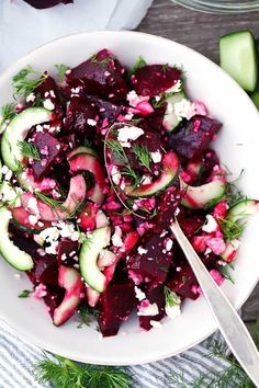 This Beet Salad with Feta, Cucumbers, and Dill takes only 10 minutes to make and is packed with sweet, salty, and tangy flavors. You can use roasted or canned beets for this easy vegetarian side. via minus the feta Healthy Snacks, Healthy Eating, Healthy Recipes, Recipes With Feta, Feta Cheese Recipes, Beet Salad Recipes, Veggie Recipes Easy, Healthy Life, Beetroot Recipes