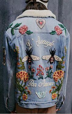 Embroidered denim jacket - Jeans Jacket - Ideas of Jeans Jacket - Embroidered denim jacket Gucci Jean Jacket, Gucci Denim, Patch Jean Jacket, Jacket Jeans, Denim Jacket Patches, Embroidered Clothes, Embroidered Jacket, Denim Fashion, Look Fashion