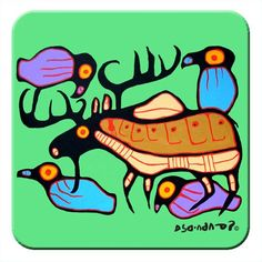 Designed by Ojibwa Artist Norval Morrisseau. Coasters are packaged in a clear top box in a set of The packaging includes the Artist's biography and artwork description. Native American Fashion, Native American Art, New Project Ideas, Aboriginal Artists, Artist Biography, Famous Art, Indigenous Art, 2d Art, Cuisines Design