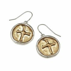 #blackfriday #sale #cybermonday Amazon.com: Designer Inspired 2-tone Wax Seal Earrings - Cross. Worn Gold/ Worn Silver Plating 2-tone Wax Seal Earrings - Cross. Fish Hook E...