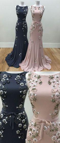 Unique round neck mermaid beads long prom dress, evening dress - Evening Dresses and Fashion Pink Evening Dress, Evening Gowns, Long Evening Dresses, Elegant Dresses, Pretty Dresses, Unique Formal Dresses, Beautiful Gowns, Beautiful Body, Dream Dress