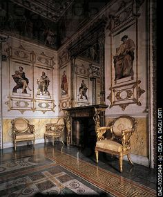 Royal Castle of Racconigi (UNESCO World Heritage ) interior ,  Italy .