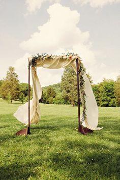 needs more fabric though... Wooden Arch W Fabric #wedding, #weddings, #pinsland, https://apps.facebook.com/yangutu