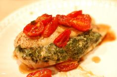 Spinach Stuffed Chicken with Blistered Tomatoes