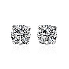 * Penny Deals * - Women's 8MM Sterling Silver Plated CZ Cubic Zirconia Studs Earrings 925 ** Details can be found by clicking on the image.