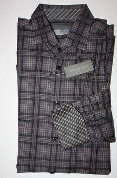 Mens Size XL Thomas Dean Button Front Plaid Casual Shirt MSRP $110 New | eBay