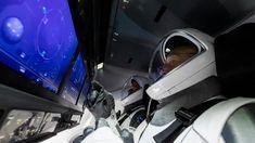 NASA astronauts Doug Hurley and Bob Behknen perform a launch dress rehearsal inside their SpaceX Crew Dragon spacecraft Soyuz Spacecraft, Nasa Spacex, Spacex Launch, Spacex News, Hurley, Space Shuttle, Falcon 9 Launch, Atlantis, The Journey