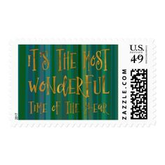 The Most Wonderful Time of the Year Gold Green Postage - faux gifts style sample design cyo