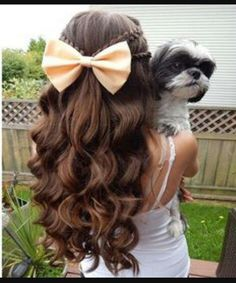 Ponytail with Colored Lacy Braid.