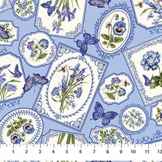 Northcott Botanical Blues by Tracy Sims 20457 42 Blue Framed Flowers $9.70/yd PREORDER DUE DEC/JAN '14/'15