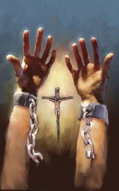 Prophetic art, Jesus has broken our chains and set us free. ROMANS 6:22