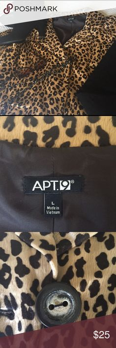 """Jacket, animal print. Raglan elbow length sleeves Dress up or dress down. Looks good with jeans or black pencil skirt or pants. Raglan sleeves are approximately 6"""". Back length is approximately 22"""".  One large button. Fabric has slight nap. Fully lined. Sweet little jacket! Apt 9 Jackets & Coats"""