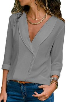 Women Casual Chiffon V Neck Tops – fashiontia Collar Blouse, V Neck Blouse, Sexy Blouse, Business Attire, Mode Outfits, Casual Outfits, Chiffon Fabric, Casual Tops, V Neck Tops