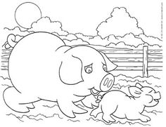 coloring page of a pig and piglet - Coloring Pages Pigs Piglets