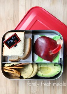 The apple and gummy worm from last week was a HUGE hit, so I decided to pack that favorite up again here.  There's also a half sandwich, baked chips and some avocado. LUNCH TIP: To prevent avocado from browning, squirt that sucker with some lime juice :) Packed in a Lunchbot Trio