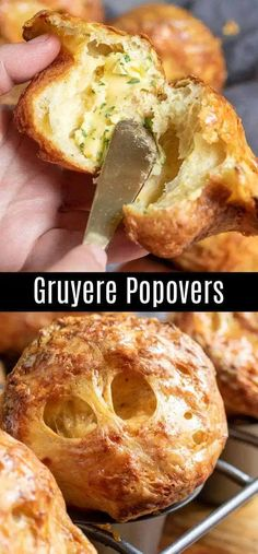 These easy Gruyere Popovers are a fluffy, cheesy popover recipe that make a great addition to Thanksgiving dinner or Christmas dinner! These cheesy popovers are a savory bread recipe that is easy to make and always impresses guests! Savory Bread Recipe, Bread Recipes, Cooking Recipes, Baby Recipes, Lunch Recipes, Bread And Pastries, Yorkshire Pudding Recipes, Dinner For 2, Breads