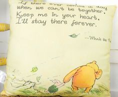 Winnie the Pooh pillow 'Keep Me In Your Heart' Quote