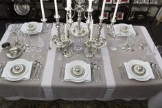 Cosi Tabellini in USA. (Royal Copenhagen White Fluted Plain tableware, Match Pewter accents)