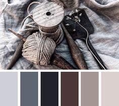 palette colorée de gris perle, graphite, anthracite, chocolat, couleur taupe et lin