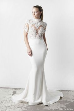 LEAH DA GLORIA Spring 2015 #bridal collection: high neck #wedding dress with #lace bodice #pretty #weddings #weddingdress #weddinggown http://www.weddinginspirasi.com/2014/11/26/leah-da-gloria-spring-2015-wedding-dresses/