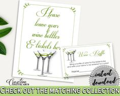 Wine Raffle Bridal Shower Wine Raffle Modern Martini Bridal Shower Wine Raffle Bridal Shower Modern Martini Wine Raffle Green White ARTAN - Digital Product bridal shower wedding bride to be bridesmaids