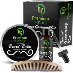 Beard Grooming Kit Gift for Him - for Mustache Beard Growth - Soften Soothe Mois #PremiumNature