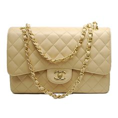Bolsa Chanel - Double Flap Bege Couro  - www.modagrife.com