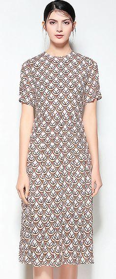 Chic O-Neck Short Sleeve Print Silk A-Line Dress