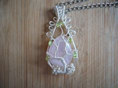 Tree of Life Pendant Rose Quartz and Peridot Wire by OurFrontYard, $33.77