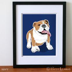 Boys wall art Bulldog art print bulldog dog art by PaperLlamas, $18.00