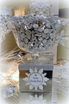 www.theperfecttablecapecod.com Winter Wonderland/ Blue, White & Silver Candy Buffet/ Premier Auto Cape Cod
