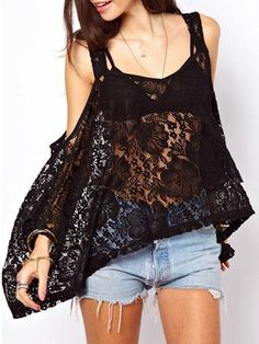 Hollow Out Lace Stylish V Neck Long Sleeve T-shirts