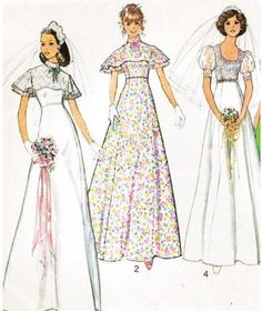 Simplicity 6940 Vintage Sewing Pattern Misses' Bridal, Bridesmaid, or Prom Dress Size 12 Bust Size 14 Bust 36 Wedding Dress Sewing Patterns, Dress Making Patterns, Vintage Dress Patterns, Vintage Dresses, Vintage Outfits, 70s Fashion, Vintage Fashion, Style Année 70, Wedding Frocks