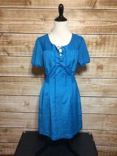 Banana Republic Blue Lace Up Smocked Sides Empire Waist Dress Size 4 NWOT #BananaRepublic #EmpireWaist