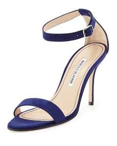 Chaos Suede Ankle-Strap Sandal, Navy by Manolo Blahnik at Bergdorf Goodman.