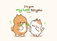 Adorable I'll give my luck to you drawing, clipart