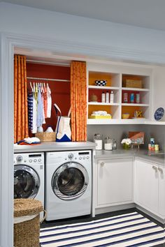 laundry/mud rooms - Benjamin Moore - Raspberry Pudding - white cabinets gray corian countertops white blue striped rug LG white front-load washer dryer orange red curtains raspberry accent wall My dream laundry room inspiration! Laundry Room Shelves, Laundry Room Remodel, Laundry Room Organization, Laundry Room Design, Laundry Rooms, Laundry Area, Mud Rooms, Basement Laundry, Laundry Closet