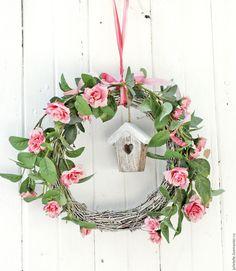 Купить Весенний венок - розовый, венок на дверь, весенний декор, декор дома, декор веранды