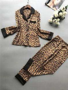 Women Pajamas Leopard Pyjamas Women 2019 Spring Satin Pijamas Women Casual Pyjama Femme Silk Pijama Mujer Homewear Leopard M Pyjama Sexy, Pyjama Satin, Sexy Pajamas, Cute Pajamas, Satin Pajamas, Pijamas Women, Long Sleeve Pyjamas, Loungewear, Ideias Fashion