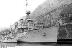 Captured vessels of the Yugoslavian Navy, Bay of Kotor. The cruiser Dalmacija (ex. German Niobe, later used by the Italians as Cattaro, then...