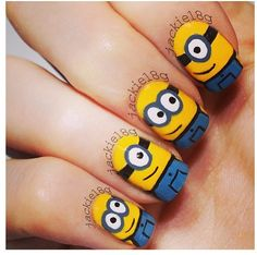 nail art designs braid fashion makeup Minions Nails 2013 2014 Despicable Me 2 Style Love Nails, Fun Nails, Pretty Nails, Cute Nail Art Designs, Pretty Designs, Minion Nail Art, Nagellack Design, Nagel Hacks, Nails For Kids
