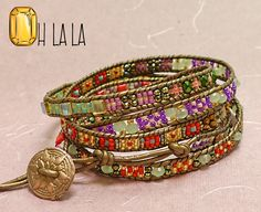 Wrap Bracelet with Crystals and Beads on Bronze by OhlalaJewelry