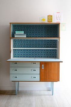 drop-down desk with drawers, cabinet, shelves, and decorative printed paper at the back Funky Furniture, Repurposed Furniture, Furniture Makeover, Vintage Furniture, Painted Furniture, Furniture Design, Muebles Art Deco, Retro Sideboard, Retro Home