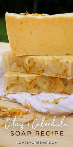 Zesty Citrus & Calendula Soap Recipe: a simple cold-process calendula soap recipe with dried flower petals and citrus essential oils. Includes full DIY instructions by naturalsoapsbynat Like:Simple DIY citrus soap Soap Making Recipes, Homemade Soap Recipes, Calendula, Diy Savon, Green Soap, Soap Packaging, Soap Molds, Silicone Molds, Home Made Soap